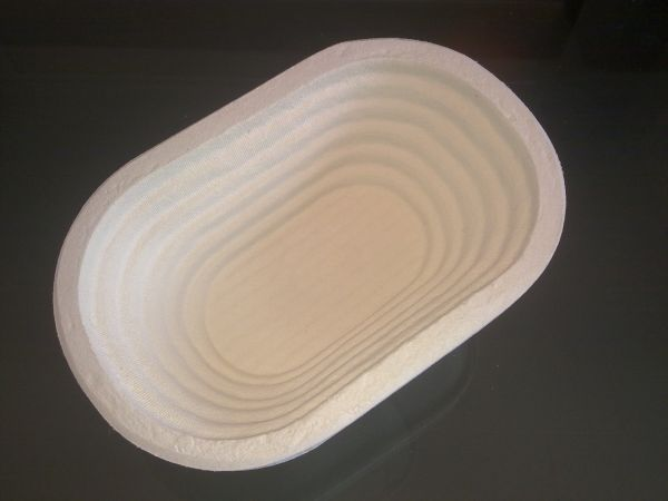 Cos de pulpa lemn, 0.75Kg, oval, 23x14,5x8cm, model crestat